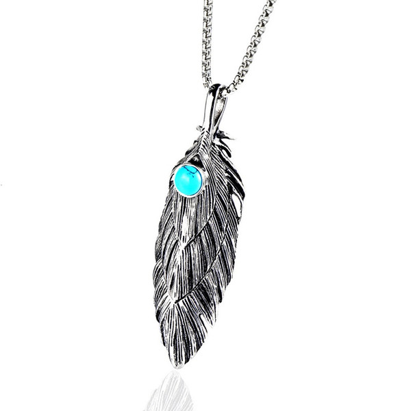Men Feather Pendant Necklaces Stainless Steel Jewelry Gold Silver Color Chain Punk Fashion Best Friend Necklace For Men Gift