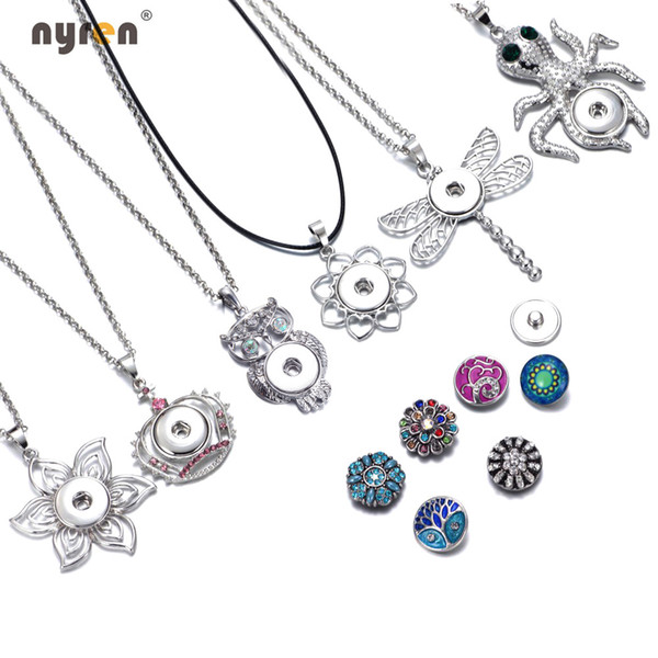Nouvelle arrivée 24pcs / lot 6 styles pendentif colliers pour femmes avec chaîne de serpent fit 18mm bouton pression bijoux DZ0225-30