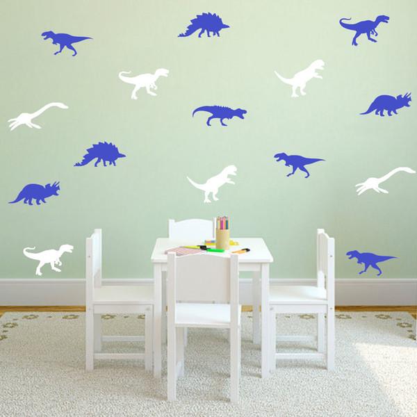 30Sets/lot Cartoon Dinosaur Wall Stickers Wallpapers Vinyl Murals Waterproof Can Removable Nursery Kid's Room Living Room Background Decor