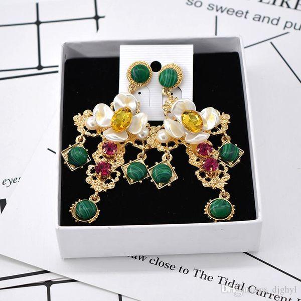 Free shipping baroque earrings retro cross pendant tassel long big earring luxury crystal metal cross dangle green auger drop ea