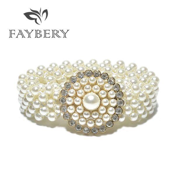 Boho Style Faux Pearl Wide Belts for Women Elastic Waist Band Fashion Rhinestones Decoration Women Belt for Long Dress Clothing