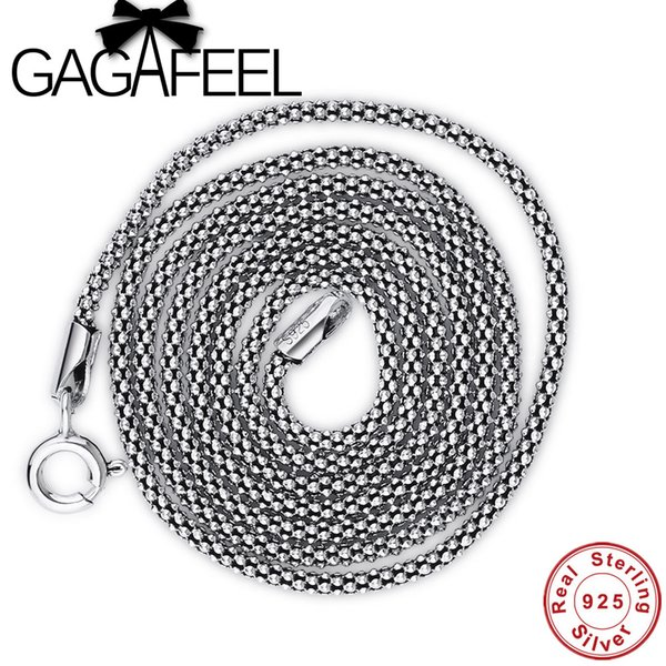 GAGAFEEL Genuine 100% Real Pure 925 Sterling Silver necklace Women Men Jewelry Classic Silver 925 Corn Chain Men Jewelry