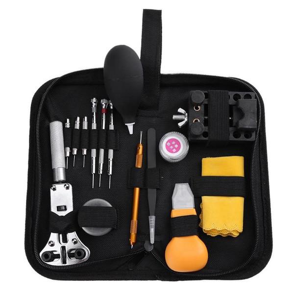15 unids Reloj Kit de herramientas de reparación Abridor de correa de reloj Reloj de pulsera Juego de destornilladores Kit de herramientas de reparación de reloj Relojero Herramientas de piezas