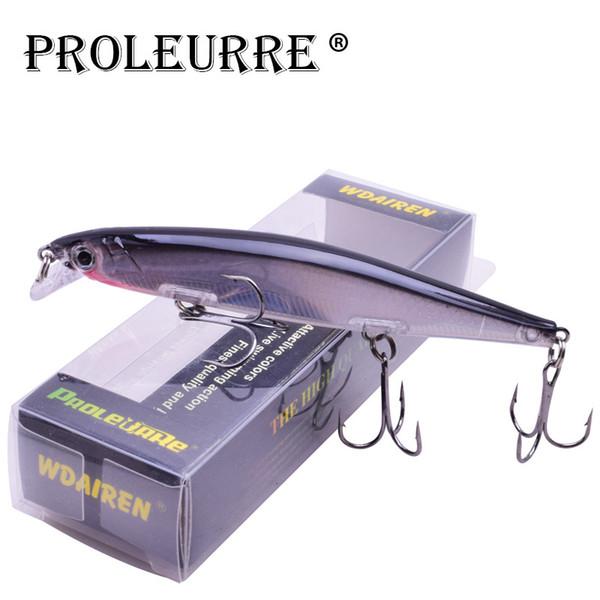 Proleurre 1PCS Minnow Fishing Lure Laser Hard Artificial Bait 3D Eyes 11cm 14g Fishing Wobblers diving 0.2m-1m Crankbait Minnows Y18100806