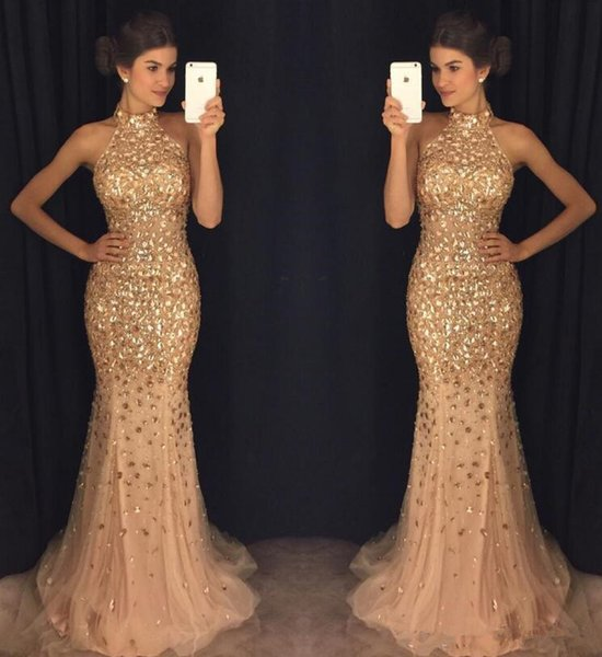 Champagne Mermaid Long Prom Formal Dresses 2018 Modest Luxury Crystal Beaded High Neck halter Fishtail Evening Pageant Gown