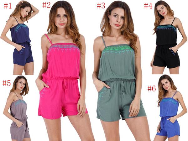 Tuta Sexy Beach Pagliaccetti Donna Print Onesies Lady Summer Slim Bodycon Body Tuta Shorts Tuta Playsuit Beachwear YYA1051
