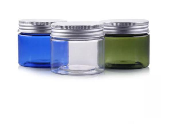 Los nuevos tarros de PET de plástico transparente pequeño de 50 g llegaron con tapa de aluminio Frasco de muestra cosmético vacío de color azul con tapa