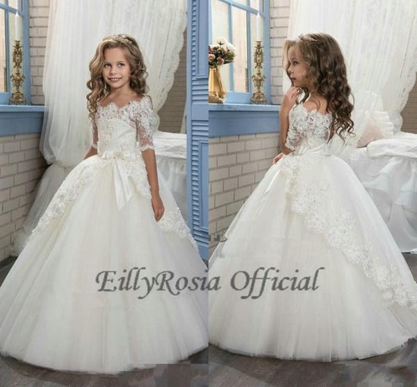 Compre 2018 Elegante Marfil Flor Niñas Vestidos Mangas Para Bodas Vestidos De Primera Comunión De Encaje Apliques De Encaje Princesa Tul Niños