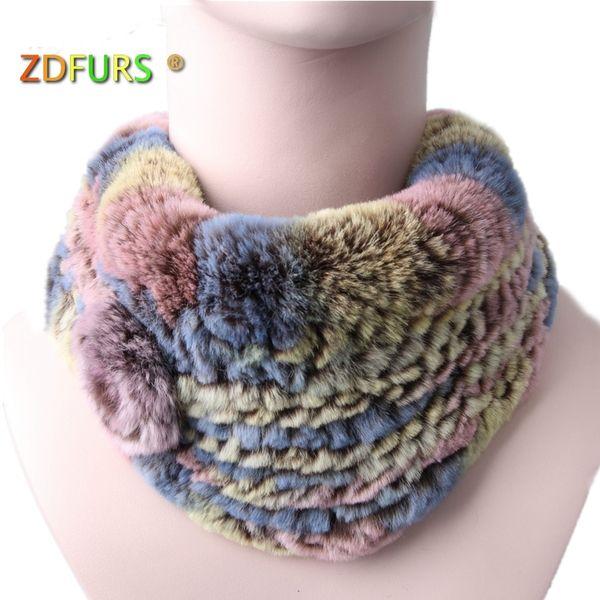 ZDFURS * Handmade Knitted women Rabbit Fur scarf Genuine Rabbit fur fashion ring with one flower warm scarf wholesale S18101904