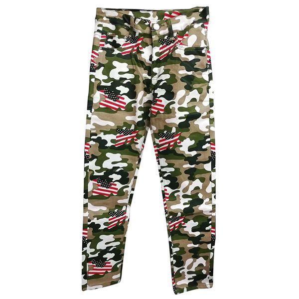 ABOORUN New Mens Fashion Camou Denim Pants US Flag Printed Jeans Mens Hip Hop Jeans Trousers x1006