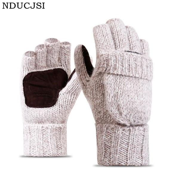 NDUCJSI Winter Warm Exposed Finger Mittens Knitted Warm Flip Half Finger Gloves Men Women Wool Work Thick Male Fingerless Gloves S1025