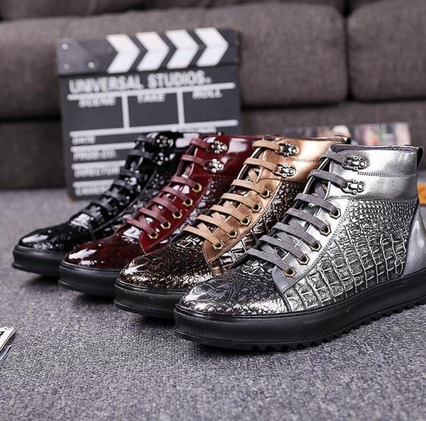 2018 Spring And Autumn Mens Crocodile Leather Casual Men High Help Shoes Fashion Lace Up Boots For Males 1h42