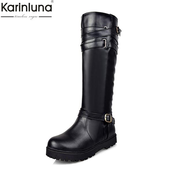 KarinLuna large size 34-43 autumn winter Knee High Boots Fashion belt buckle Women Shoes street style fashion riding Boots woman