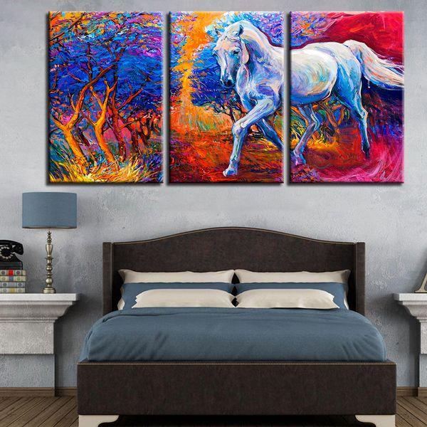 Lona HD Imprime Fotos Sala de Arte Da Parede 3 Peças Floresta Correndo Pinturas Cavalo Abstrato Animal Poster Modular Decoração Da Casa