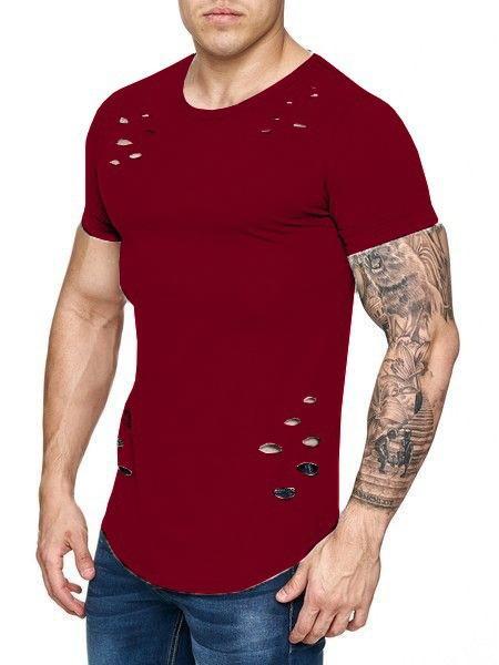 2018 Yeni erkek Gevşek Ve Saf Renk T-shirt Delik Büyük Kod, Mn Ve Aynı Stil Kadınlar