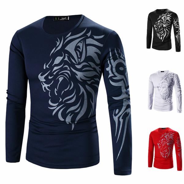Hot 2018 Brand Men's T Shirt Fashion Printing Tops Tees Men Casual Long Sleeves O-Neck T Shirt Men Fashion T-Shirt M-3XL