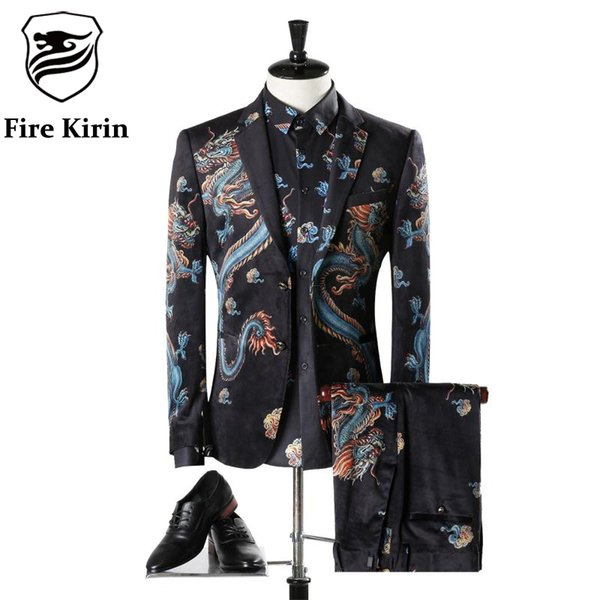 Fire Kirin Mens Suits Wedding Groom Luxury Brand Chinese Dragon Vintage Velvet Suit Classic Men's Suit Prom Party Blazer Q304