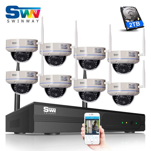 P2P 2TB HDD 8CH Wireless NVR Kit 960P 1.3MP HD Outdoor 30 IR Vandal-proof Dome IP Camera WIFI CCTV Camera Surveillance System
