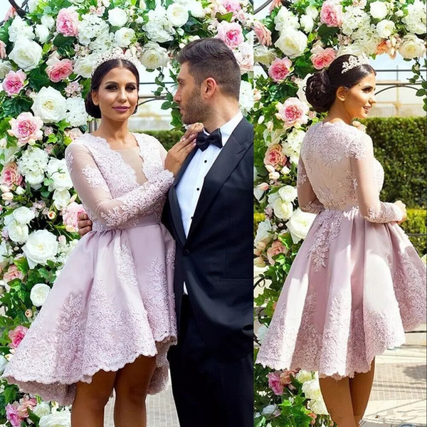 Dusty Pink Short Lace Prom Dresses High-Low Sheer Crew Long Sleeves Party Dresses with Appliques Women Formal Party Dresses Evening Wear