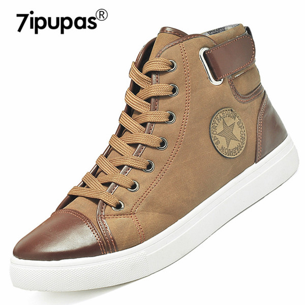 7ipupas street style DX868 fashion men's boots mixed colors winter boots for men high top casual shoes buckle canvas men