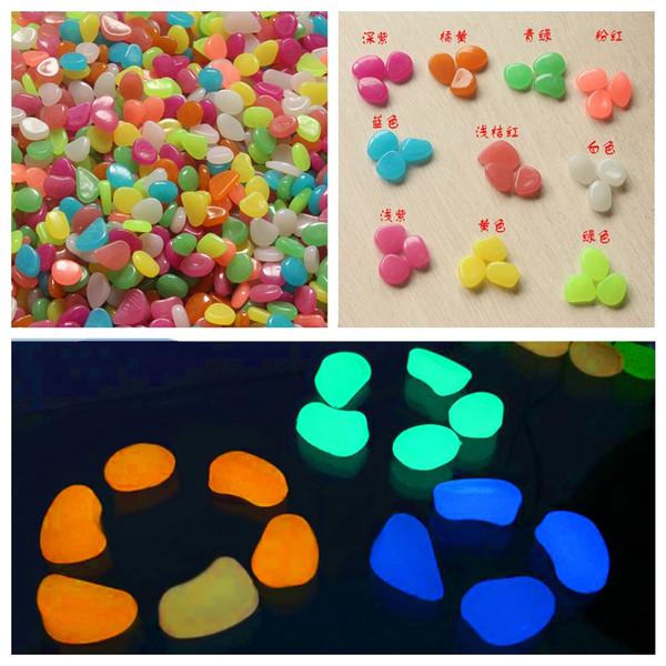 Ornamenti in resina moda 100 pezzi Glow In The Dark Stones Ciottoli Rock per acquario Fish Tank Garden Decor Wll9140