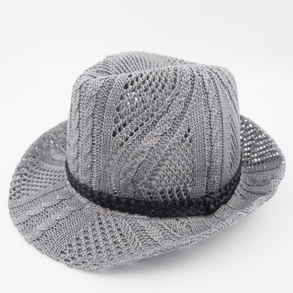 Knitted Polyester Stingy Brim Fedora Dad Men Designer Hat Women Ladies Hats for Summer Beach Holiday Classic Jazz Hats EPU-MH1850