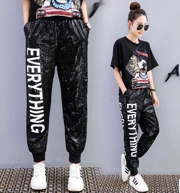 Europe station 2018 early spring new fashion letter print sequins strapped leggings students leisure sports guard pants free shipping