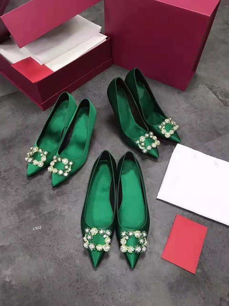 Women's single shoes, 2018 fall new high-end silk color diamond dress shoes, fashionable elegant high heel pointed shoes