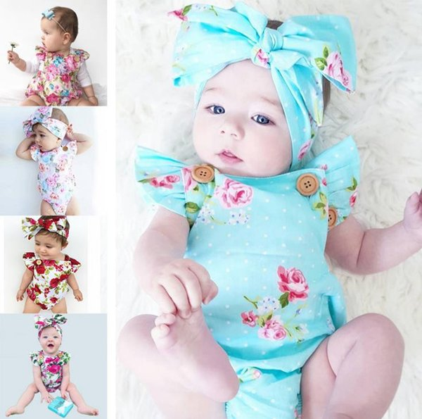 Infants baby girl floral rompers Bodysuit with headbands Ruffles sleeve 2pcs set buttons 2018 summer Ins briefs 0-2years