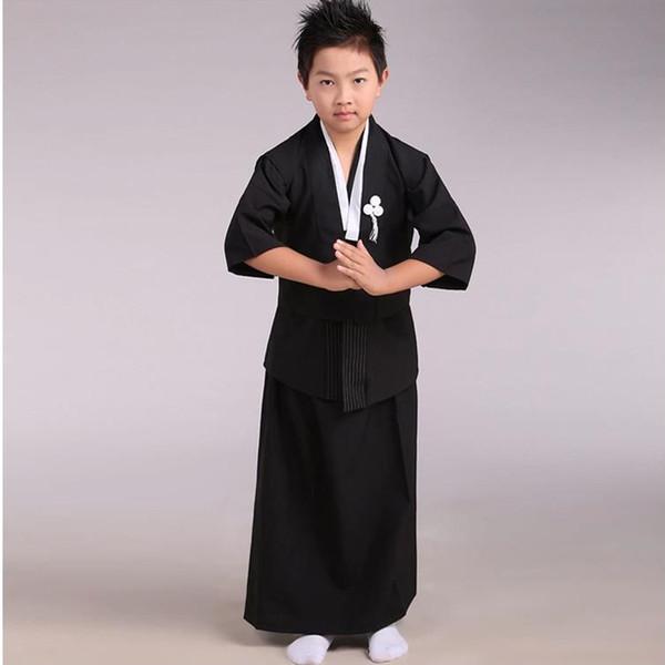 Preto Japonês Meninos Quimono Criança Guerreiro Espada Tradicional Yukata Kid Performance de Palco Roupas Trajes Cosplay B-069