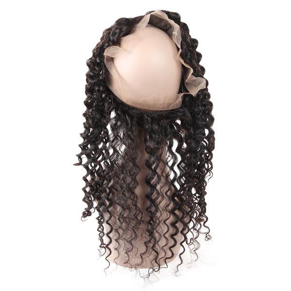 Cheap 8A 360 Lace Frontal Deep Wave Human Hair Pre Plucked for Black Women Brazilian Peruvian Malaysian Indian Hair 8-20inch