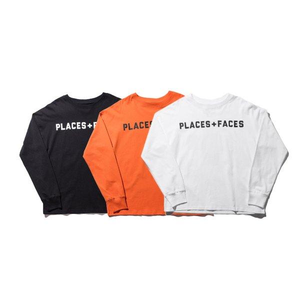 2018 Best Version Places+Faces Women Men Long Sleeve T shirts Hiphop Cotton Tops Tees Streetwear Men T shirts tee