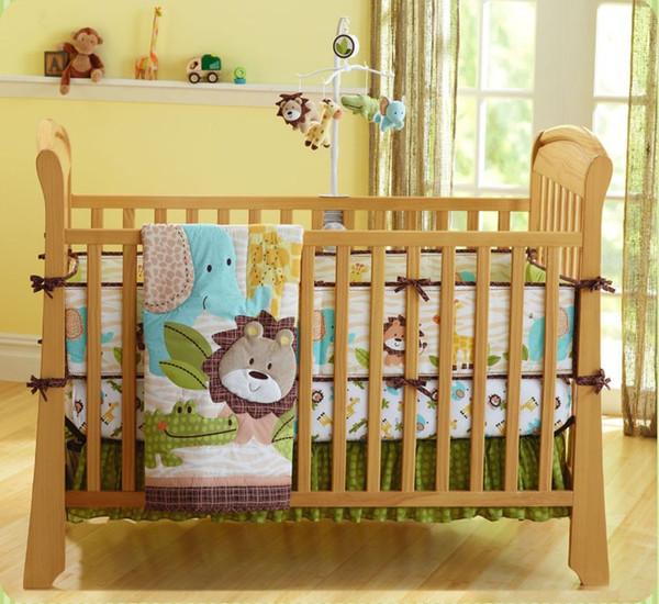 Fashion 7pcs Baby boy bedding set Pure cotton 3Dembroidery lion elephant giraffe and crocodile selling fashion Crib bedding set