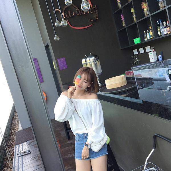 Sweet Off Shoulder Casual Tees Doll Female T Shirt Summer Girl Slash Neck Puff Long Sleeve T-shirt Women Tops Female Fresh