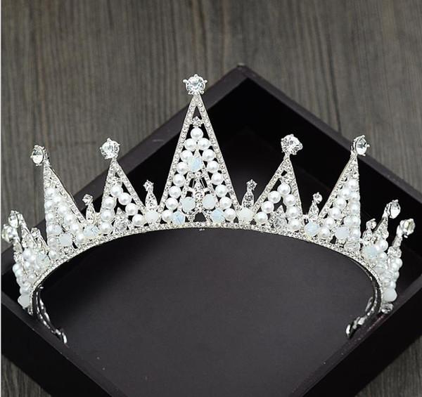 Bride's handmade pearl crown, popular crystal ornament Princess Princess hoop alloy diamond QUEEN CROWN new model