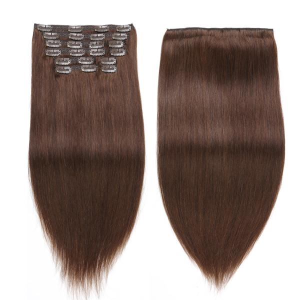 Dark Brown Hair Extensions Clip in #4 Straight Hair Weave Indian Remy Human Clip in Extension Human Virgin Burmese Clip in Hair