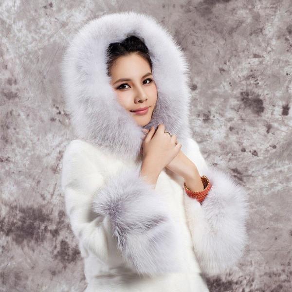 Women's Winter Long Mink Coat Hooded Rabbit Fur Long Warm Jacket