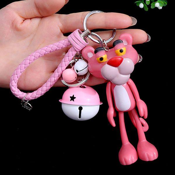 Karikatür sevimli ayı bebek araba anahtarlık severler anahtarlık yaratıcı Pembe Panter Anahtarlık çanta Kolye