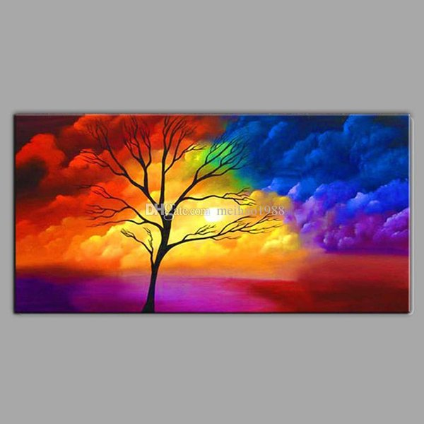 Handmade Modern colour Clouds and Trees Scenery Oil Painting Canvas Art Wall Picture For Bed Room Home Decoration