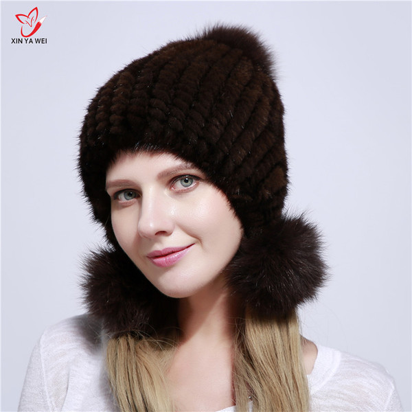 New Arrival Hot Bomber Hats For Women Winter Warm Ear Protector Cap Real Knitted With Fox Fur Pom Poms Female Hat