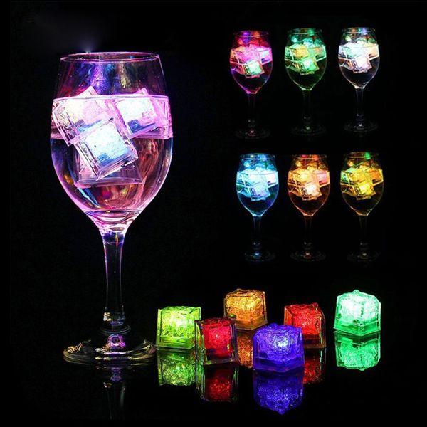 Novelty LED Glow Ice Cubes Fun LED Light Ice Cubes DIY Colorful Flash LED Ice Cubes Wedding Festival Party Decor Props 0192