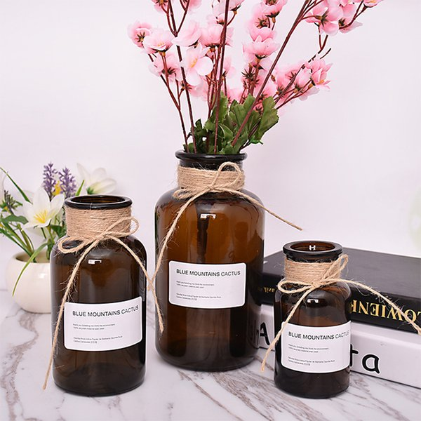 3pcs/lot 250ml+500ml+1000ml Brown Glass Bottle with Jute Used for Flower, Diffuser, Home Decoration, Coffee House, Music Bar