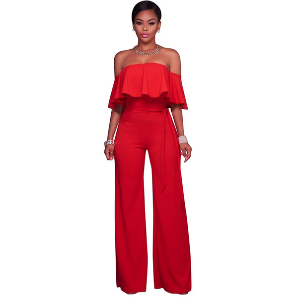New Women Off the Shoulder Wide Leg Jumpsuit Ruffles Half Sleeves Waist Strap Sexy Ladies Casual Loose Playsuit for Women Romper