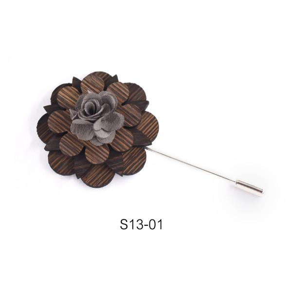Perni e spille femminili vintage in legno di grandi dimensioni per donna in legno di grandi dimensioni con colletto vintage spilla distintivo fiore in legno spilla gioielli
