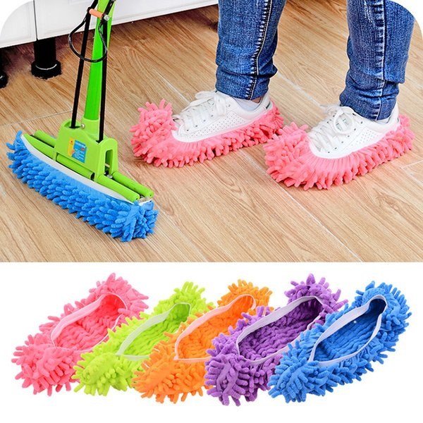 2pcs Shoe Cover Mop Dust Cleaner slippers Covers Floor Clean Cloth Easy Cleaning Sweep Floor Chenille Material 5colors