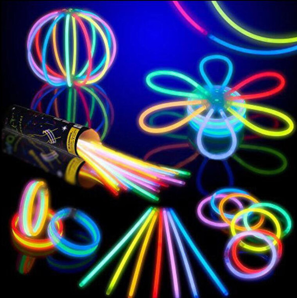 20cm Multi Color Glow Stick Bracelet Necklaces Neon Party Flashing Light Stick Wand Novelty Toy Vocal Concert Flash Sticks Glowligh KKA5591