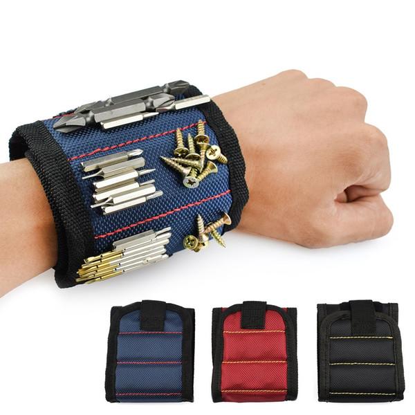 Braccialetto magnetico Borsa per attrezzi portatile Elettricista Borsa per attrezzi da polso Viti da cintura Chiodi Punte da trapano Strumenti di riparazione del supporto