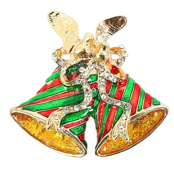 Crystal Christmas Bell Brooch Pin Christmas Decorations Rhinestone Covered Scarves Shawl Clip Decorations Ornament J