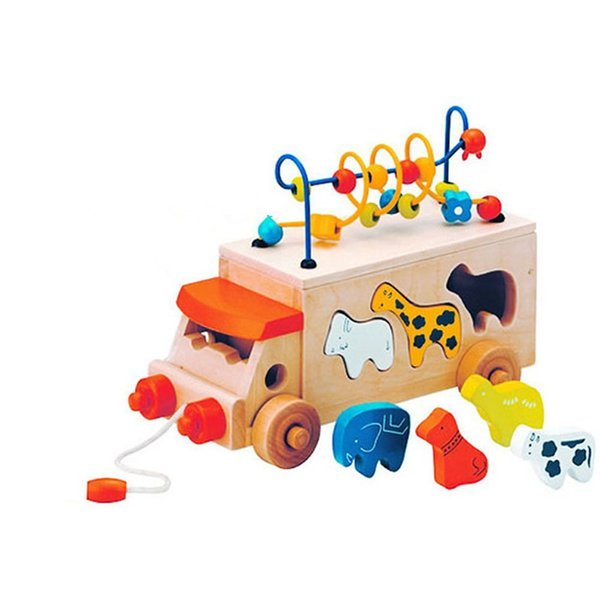 Pull Along Toys Animal Beads Bus Wooden Block Shape Sorter Bead Maze Children Kids Learning Educational Gift