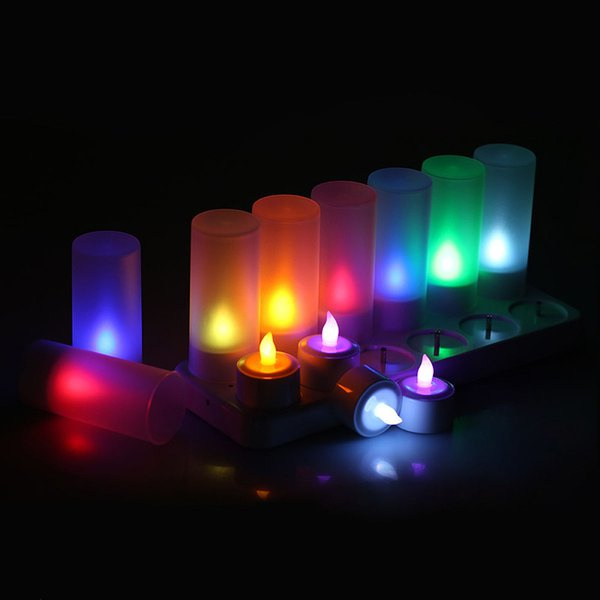 12pcs /Set Remote Controll Rechargeable Tea Light Led Candles Frosted Flameless Tealight Multi -Color Changing Candle Lamp Party